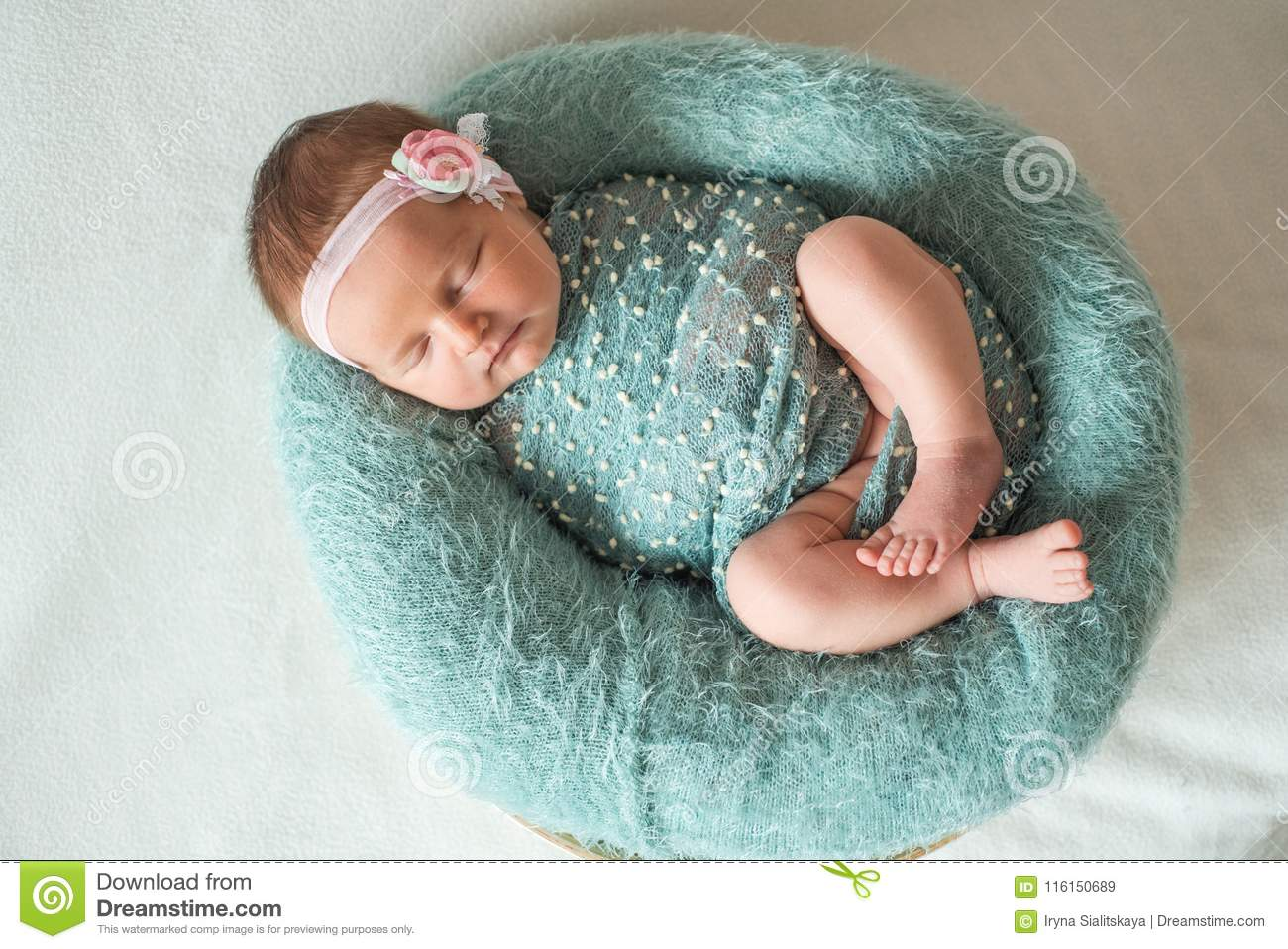 9bb47978f1ae Lovely Newborn Girl In Dress Sleeping Stock Image - Image of female ...