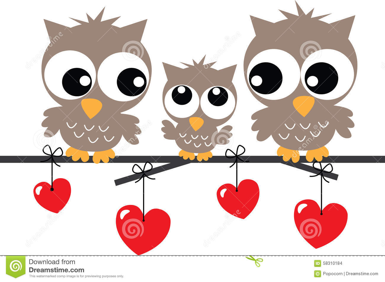 Lovely Owl Family Sitting On A Branch Stock Illustration
