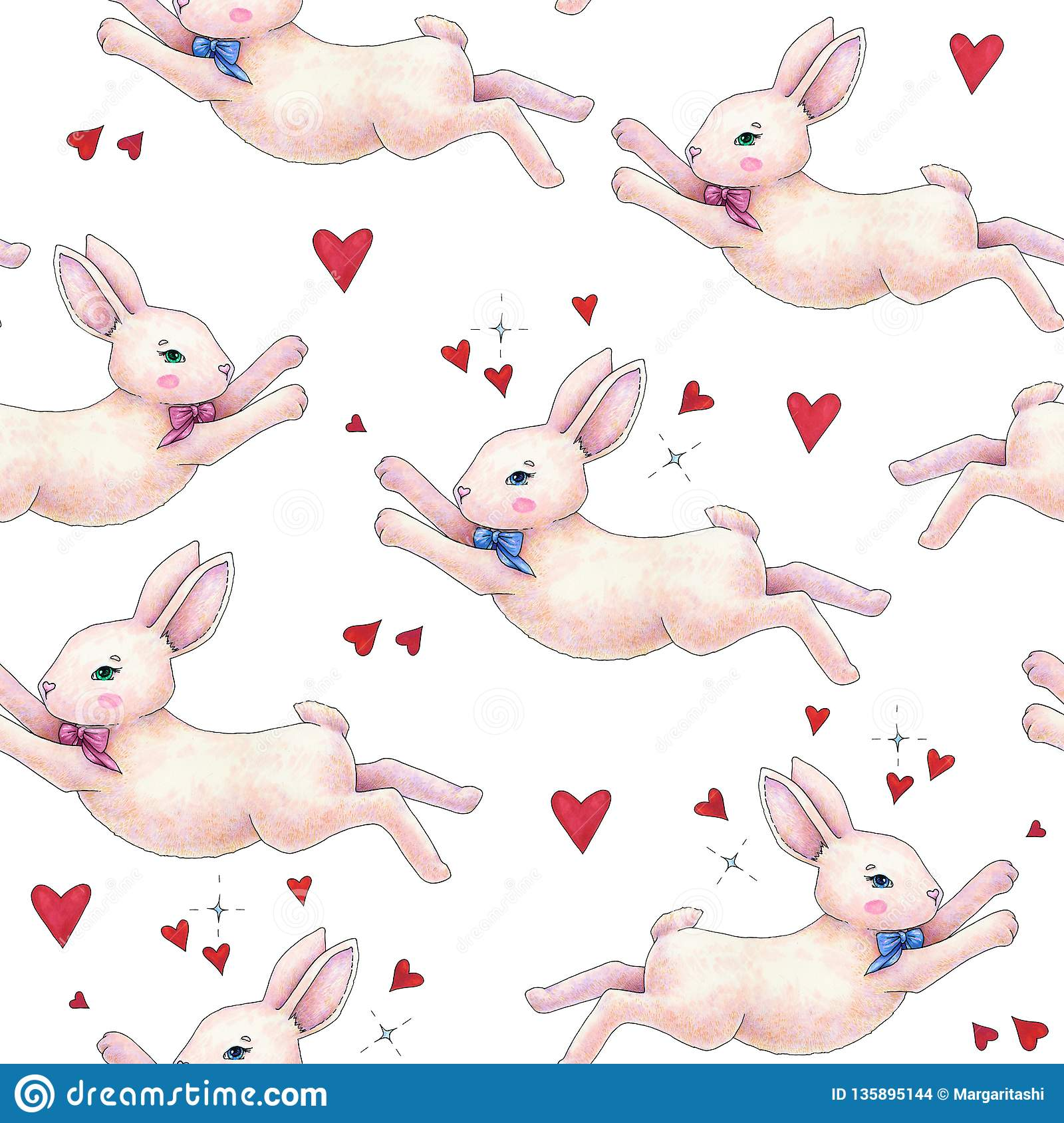 Lovely pink animation rabbit bunny hare with a bow in love is isolated on a white background. Children fantastic drawing. Handwork