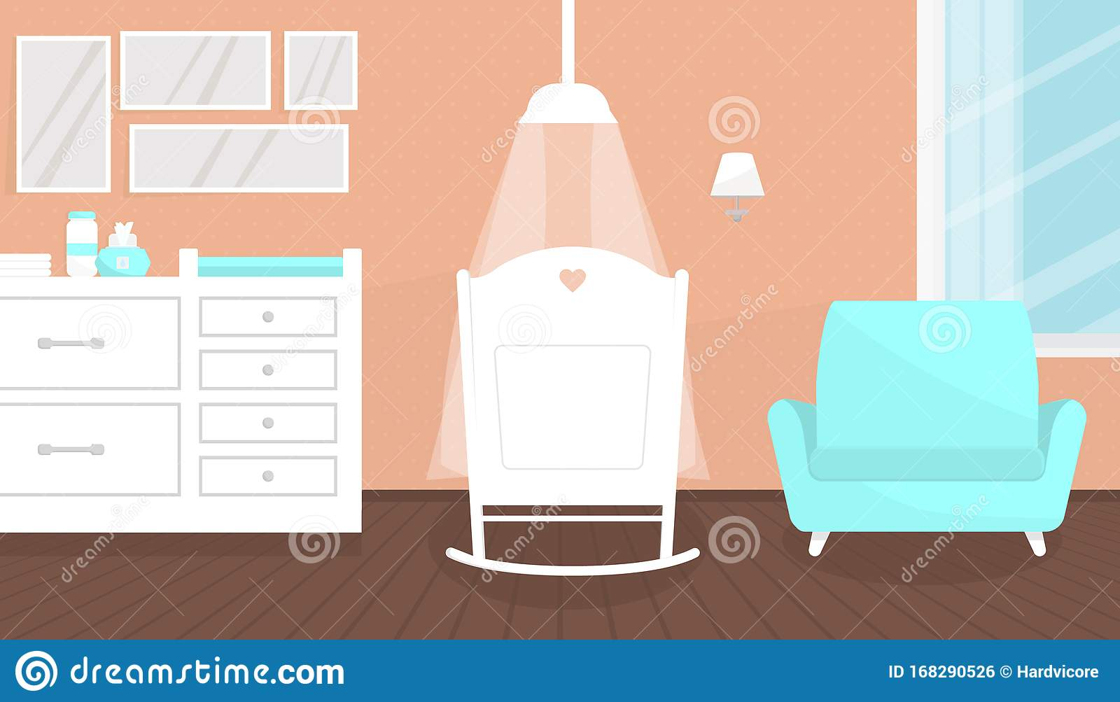 Picture of: Lovely Pink Baby Room Interior With Furniture Stock Vector Illustration Of Living Cozy 168290526