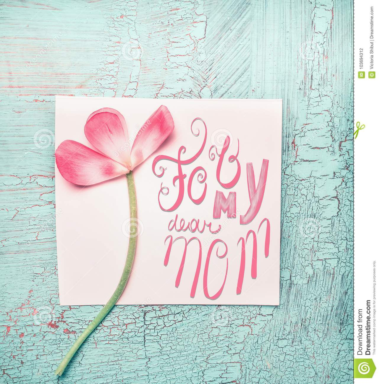 Lovely pink flowers for my dear mom on turquoise shabby chic lovely pink flowers for my dear mom on turquoise shabby chic background top view mightylinksfo