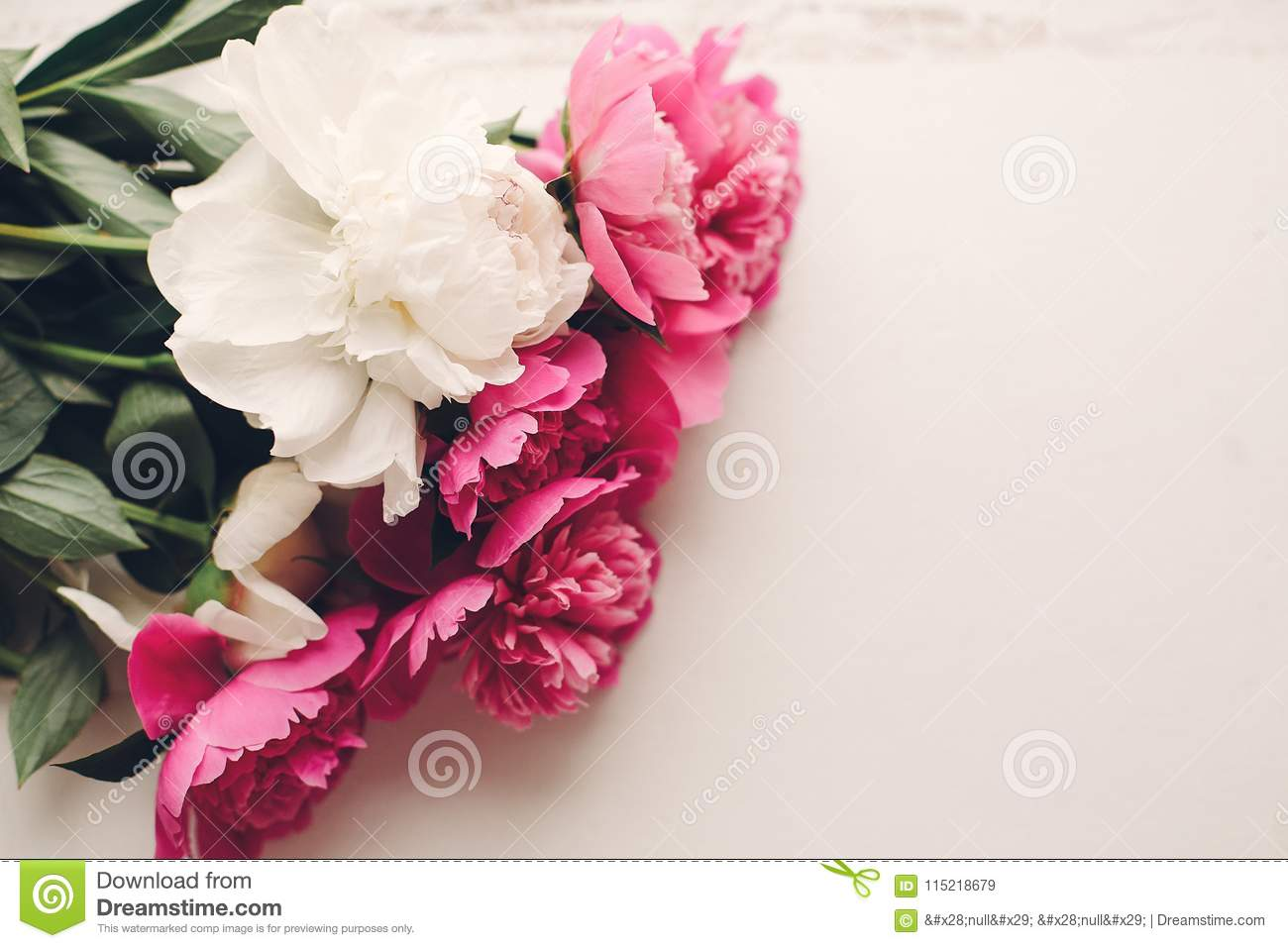 Lovely Pink Peonies On Rustic White Wooden Background Top View