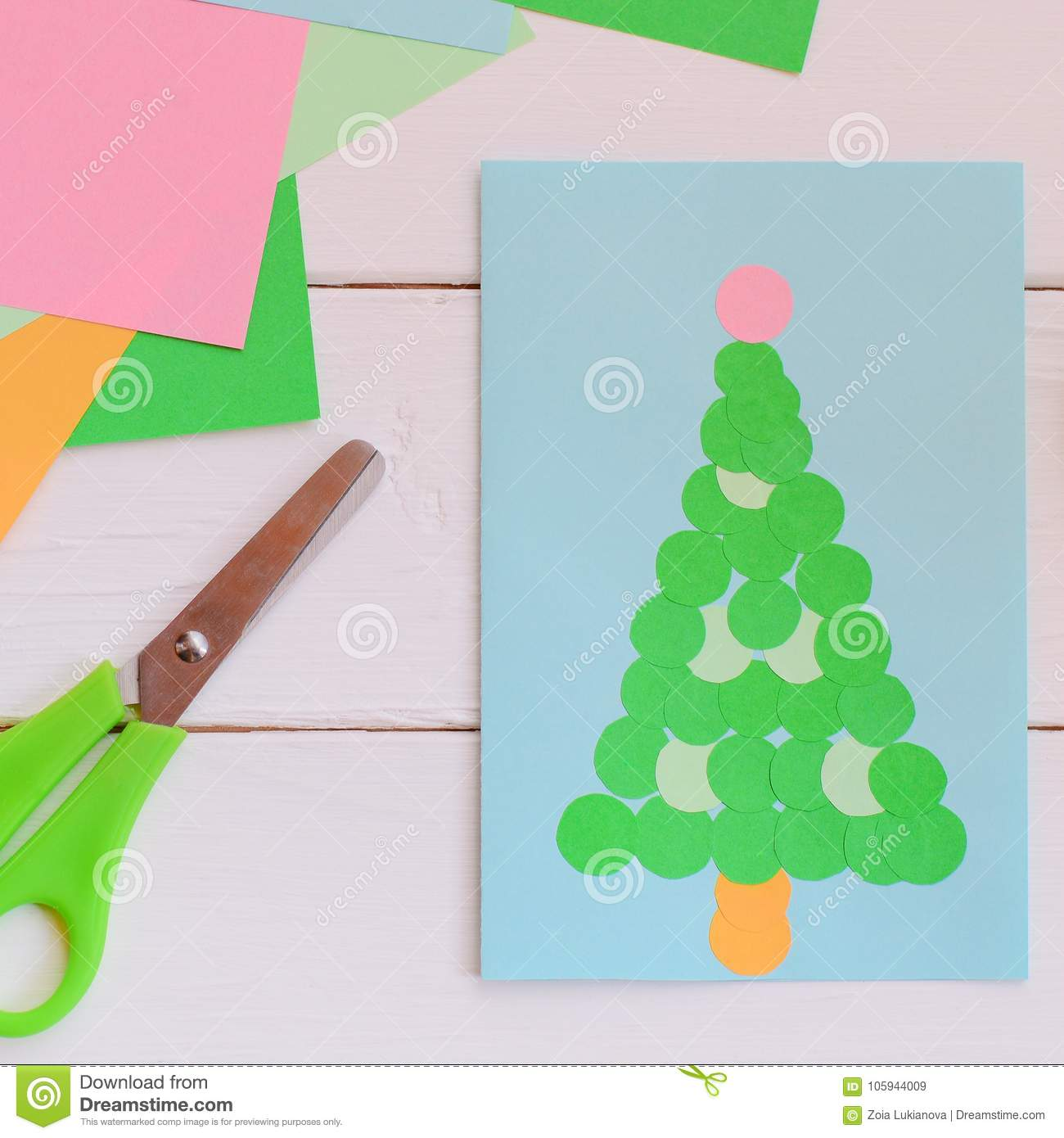 Lovely Postcard With A Christmas Tree Christmas Greeting Card Made From Colored Paper Using Glue Simple Children Handicrafts Stock Image Image Of Made Creative 105944009