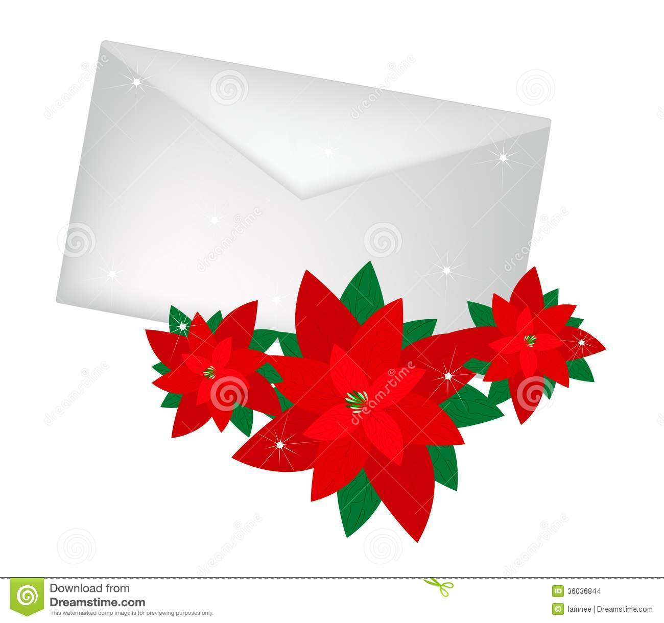 lovely red poinsettia flowers with a letter stock images