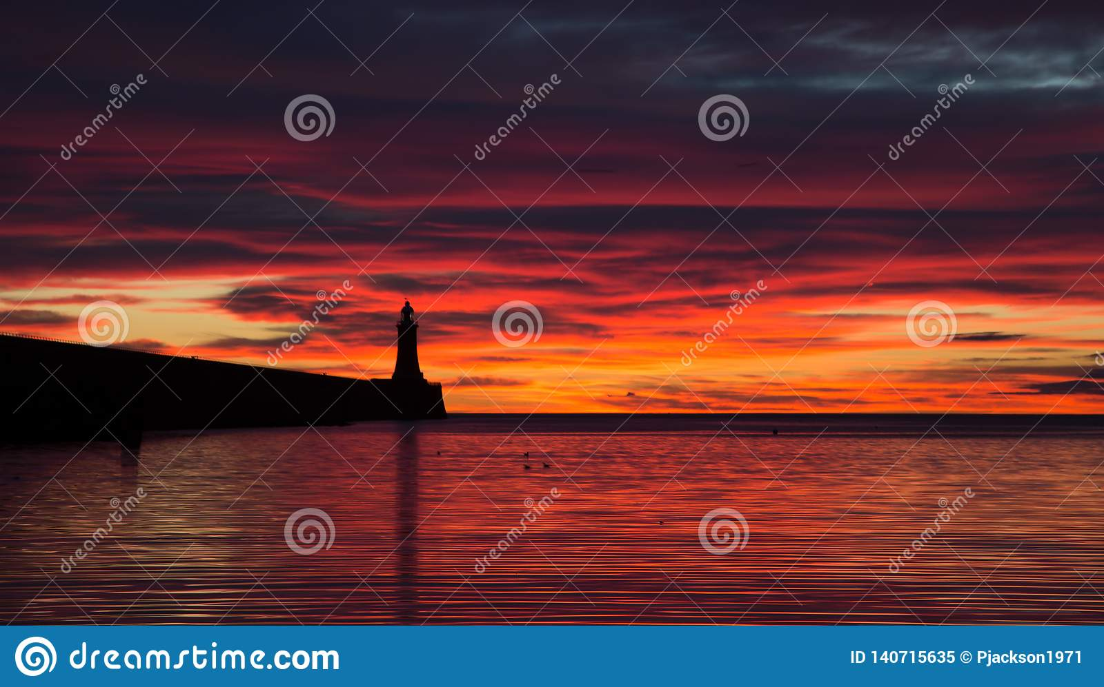 A lovely red Sunrise at Tynemouth Pier