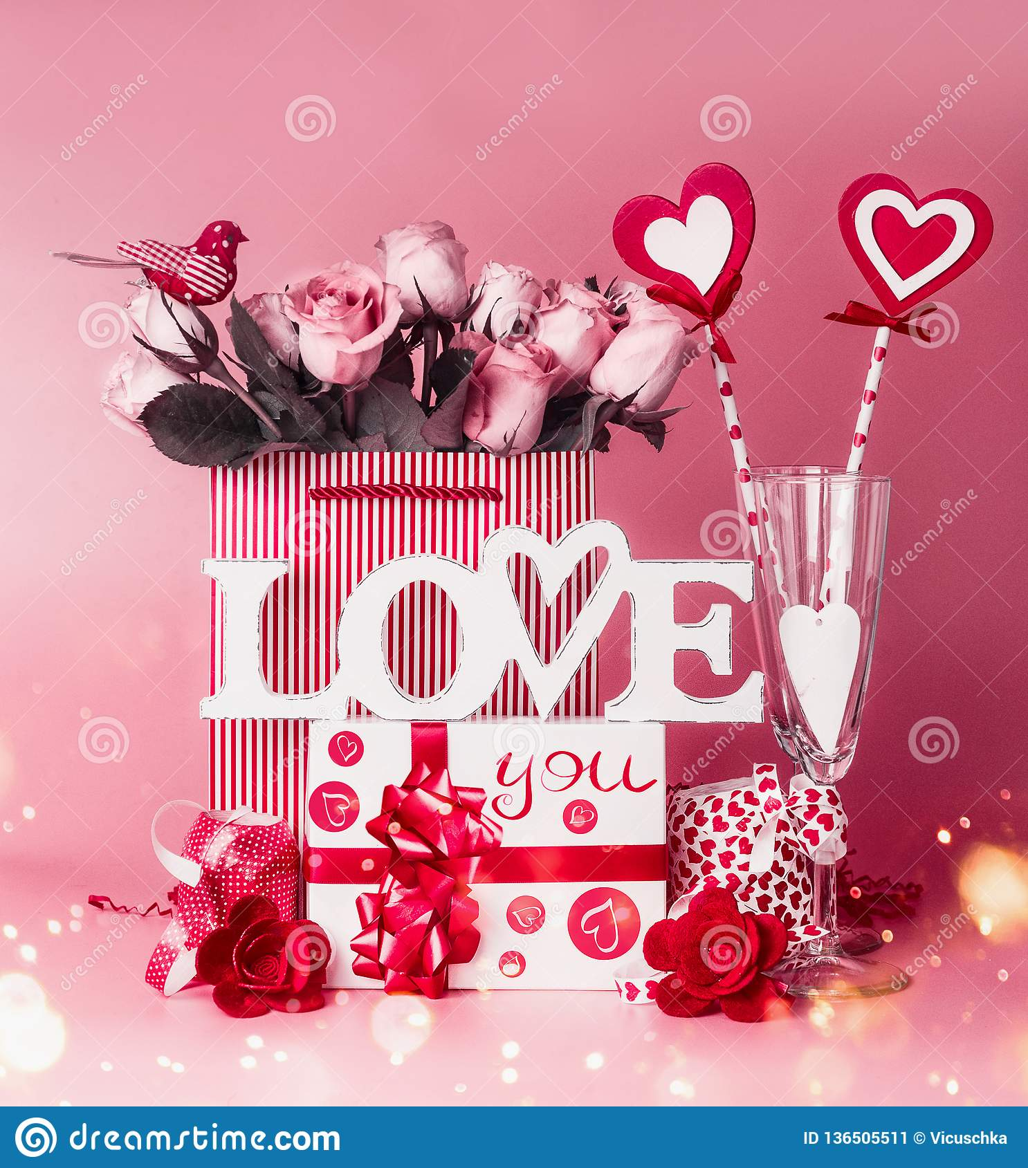 Lovely Romantic Composition For Valentines Day Love You Message