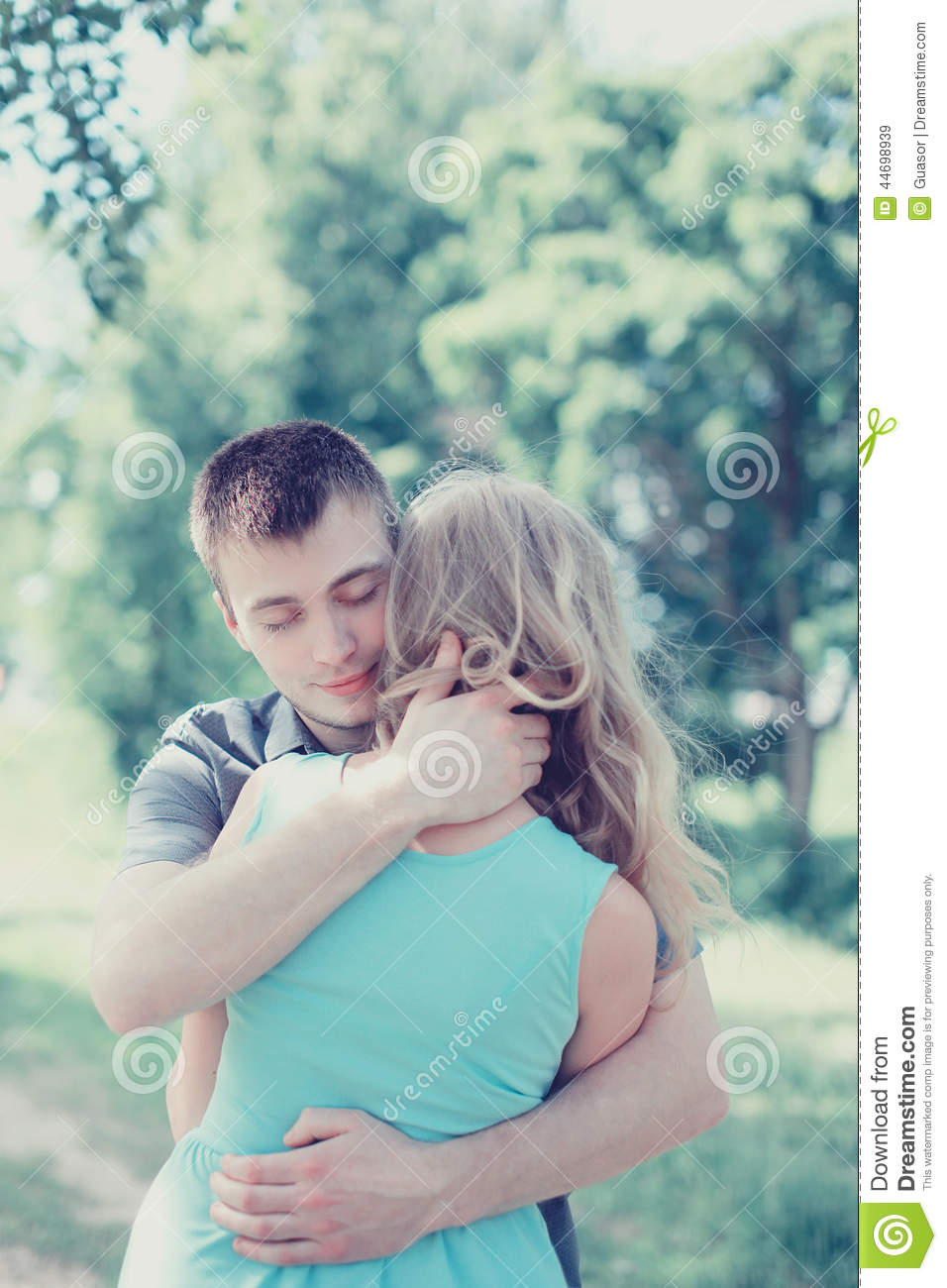 Lovely Sensual Couple In Love Man Embracing Woman Warm Feeling