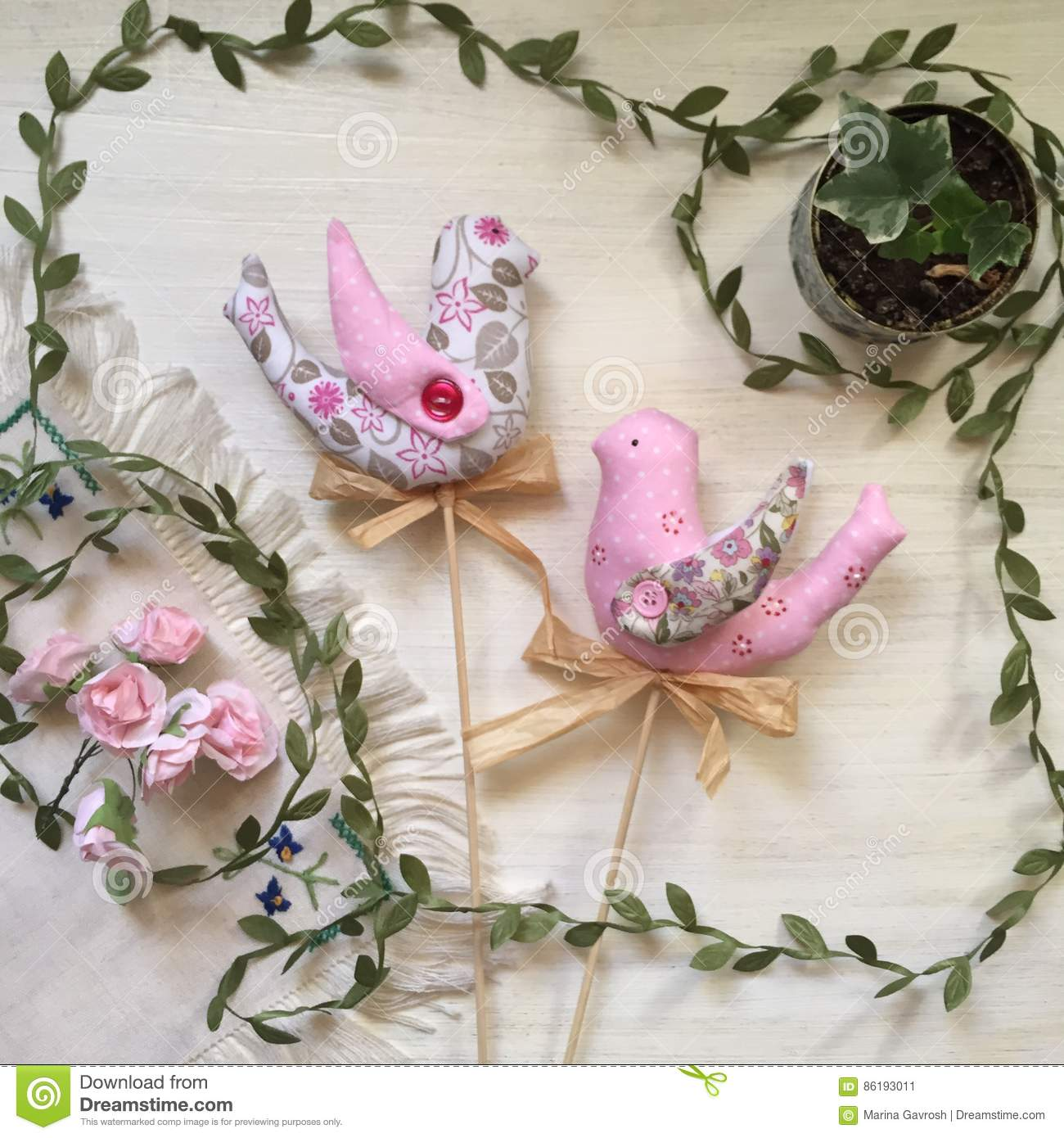 Lovely spring birdie handmade a symbol of spring royalty for Hand work decoration