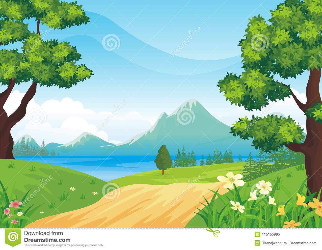 Lovely Spring landscape background with cartoon style