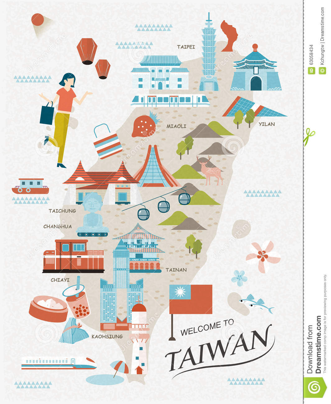 Lovely taiwan travel map stock vector illustration of for Architecture house map design