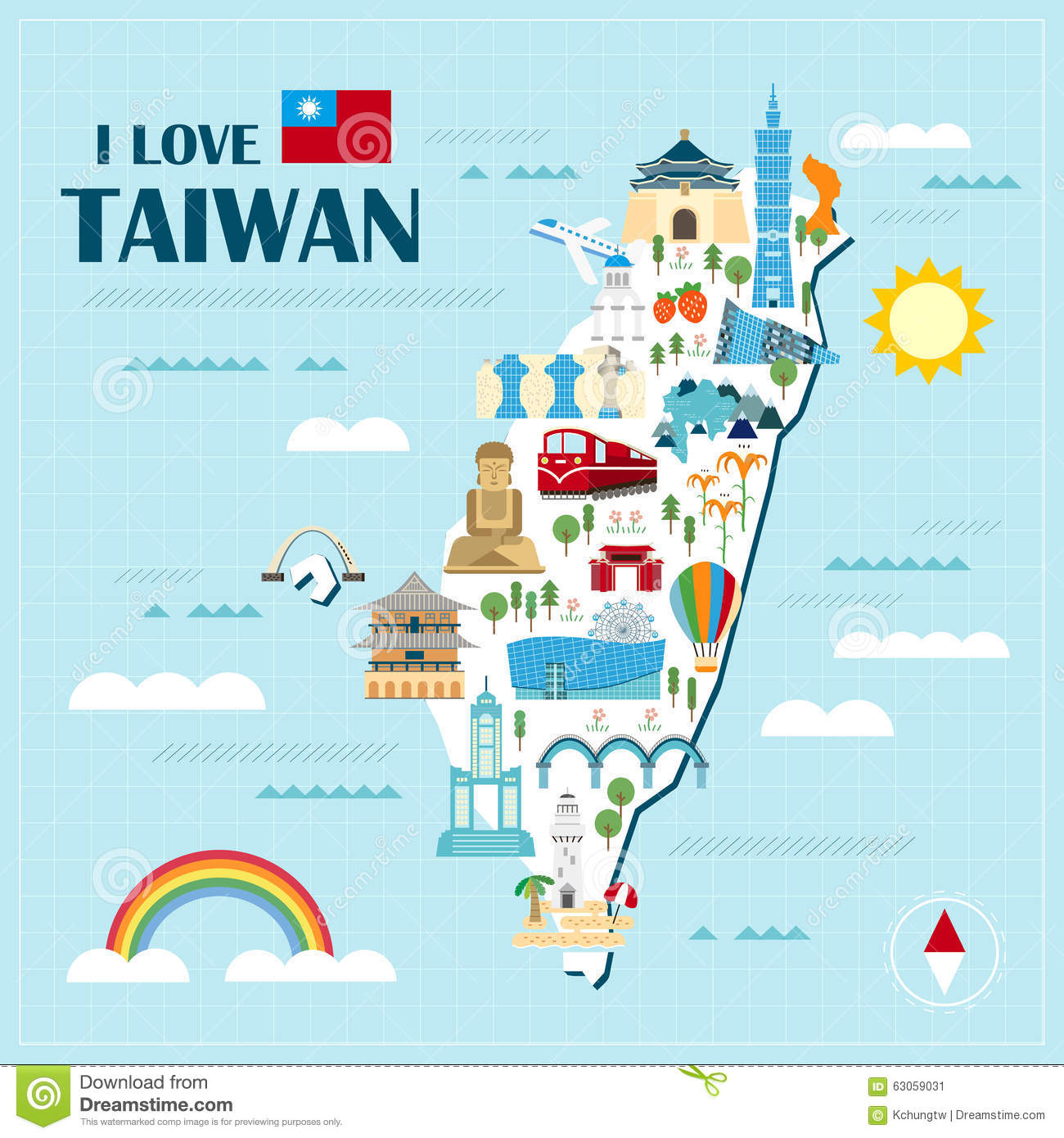 Lovely taiwan travel map stock vector illustration of grid 63059031 lovely taiwan travel map grid culture gumiabroncs Image collections