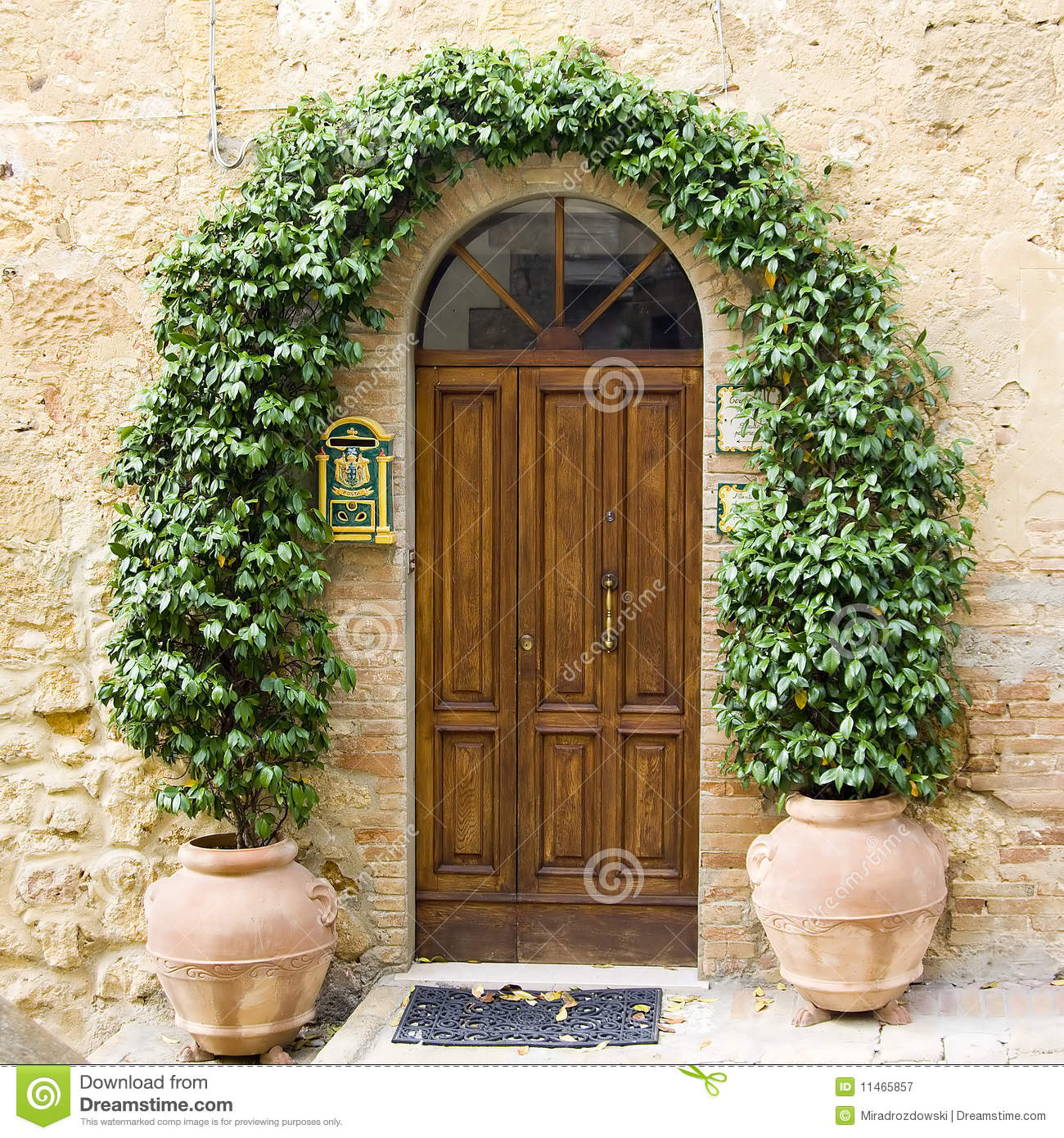 Lovely Tuscan Doors Stock Image Image Of Idyllic