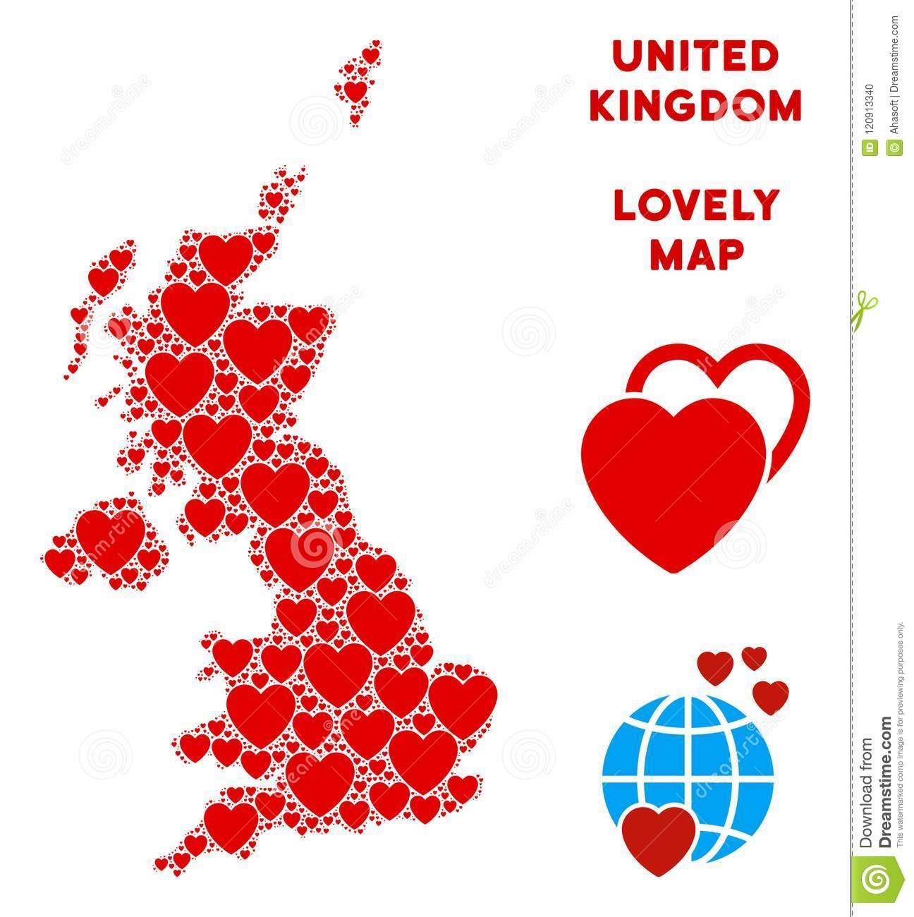 Map Of Uk Template.Vector Love United Kingdom Map Mosaic Of Hearts Stock Vector