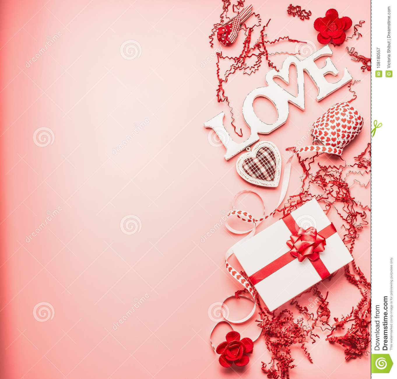 Lovely Valentines Day Background With Word Love Gift Box Hearts