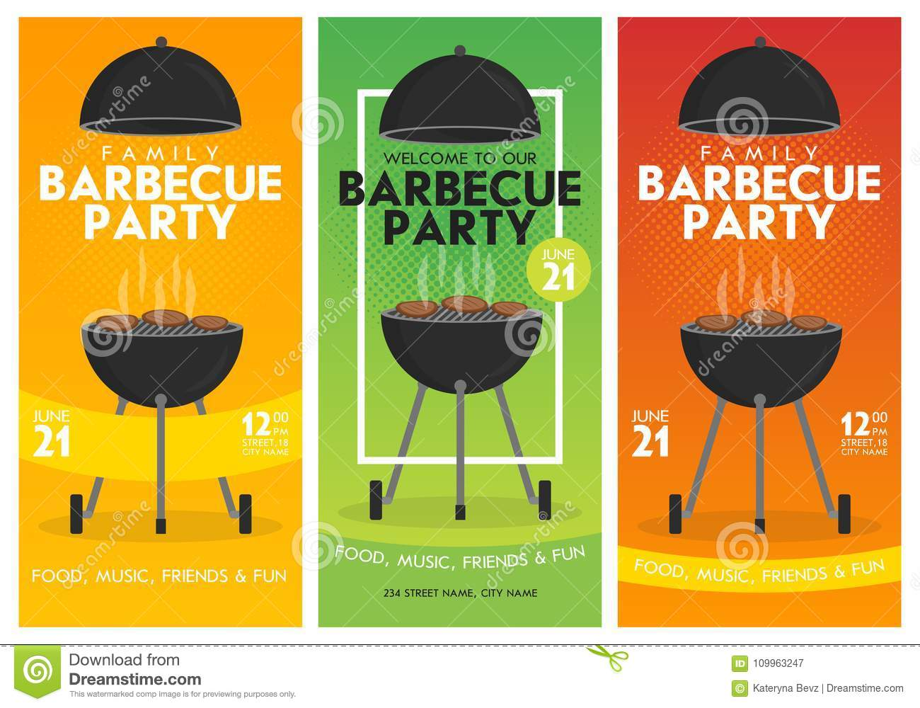 Trendy Poster Designs: Lovely Vector Barbecue Party Invitation Design Template