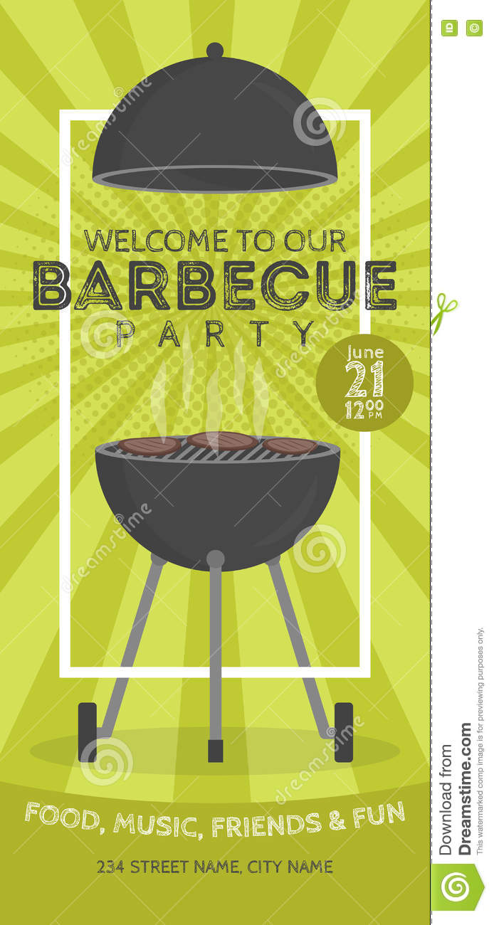 Lovely Vector Barbecue Party Invitation Design Template ...