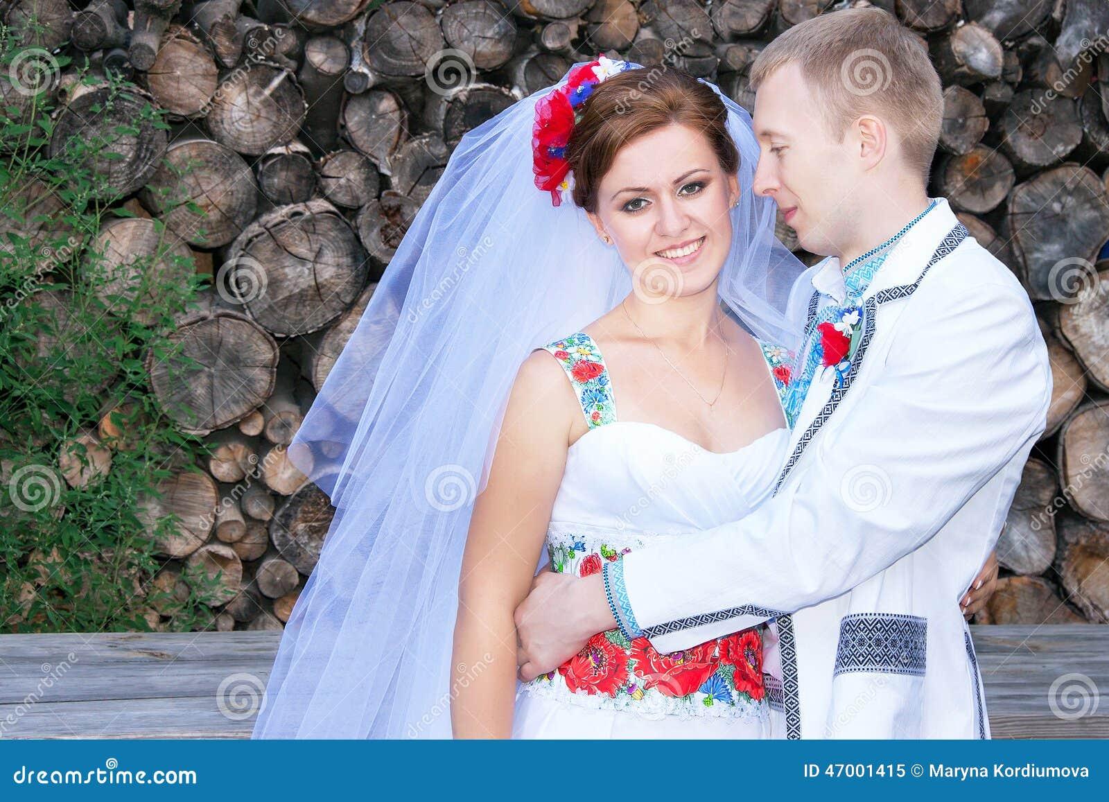 Lovely Wedding Couple Is In The Ukrainian Style dress Stock Image