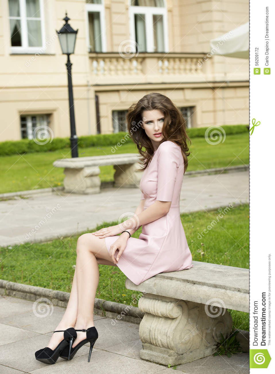 Lovely Woman In Old Park Stock Photo - Image: 56209172