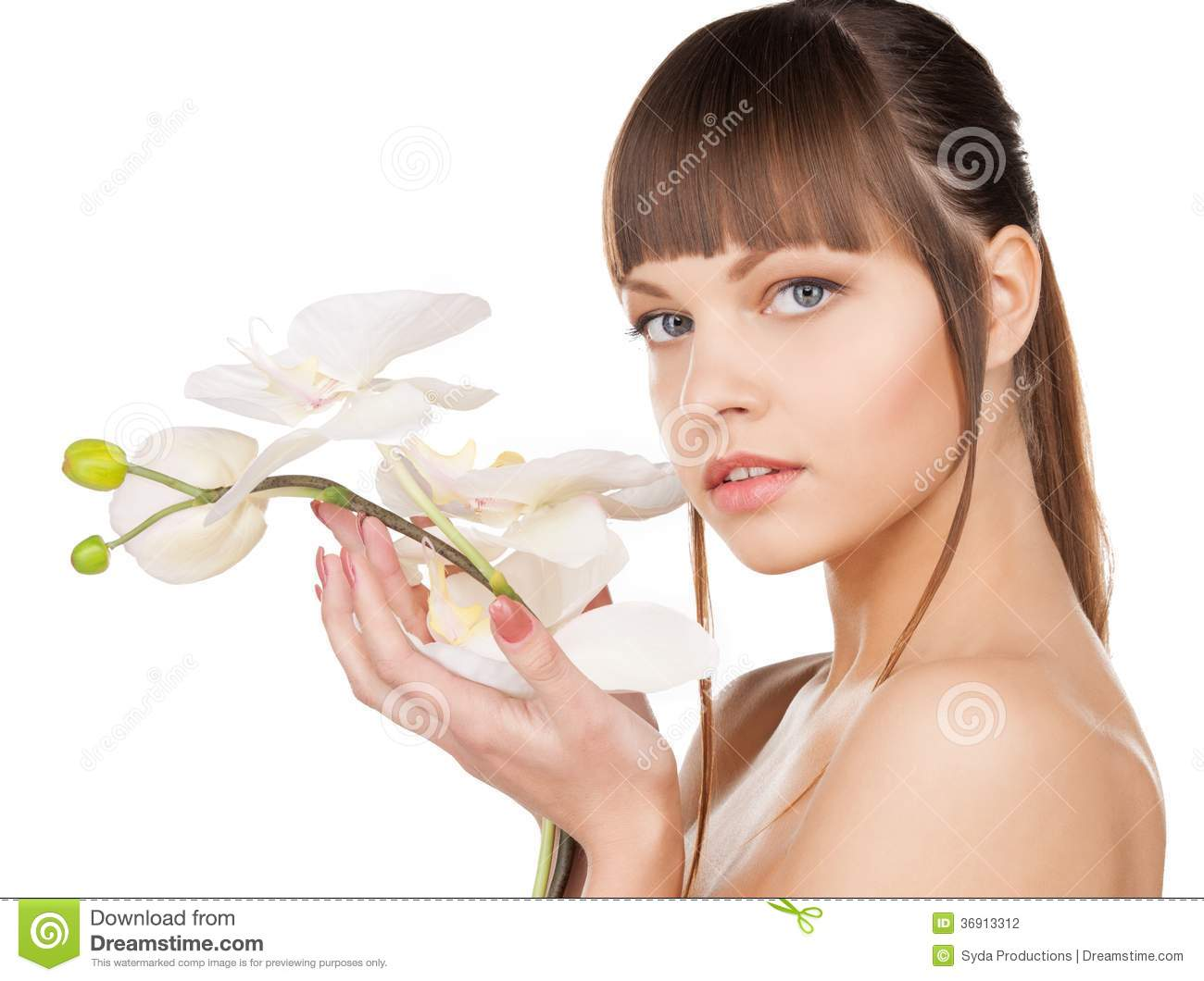 Lovely Woman With Orchid Flower Stock Photography - Image ...