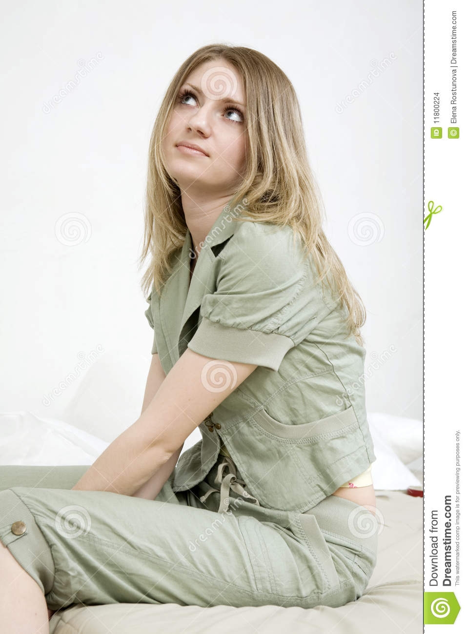 Stock Images Lovely Woman Sitting On Bed