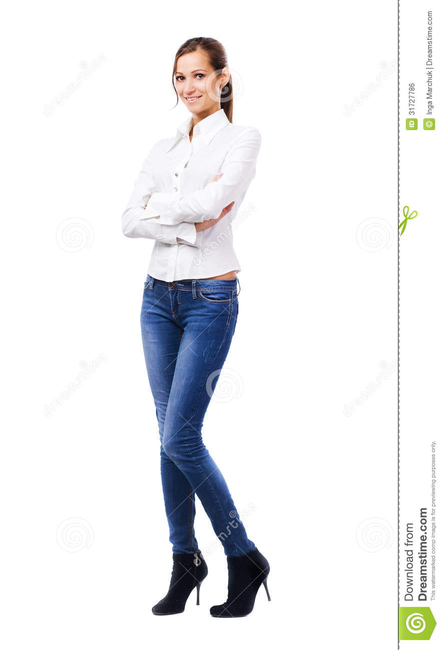 Lovely woman in white shirt and blue jeans stock photo for Jeans and shirt women