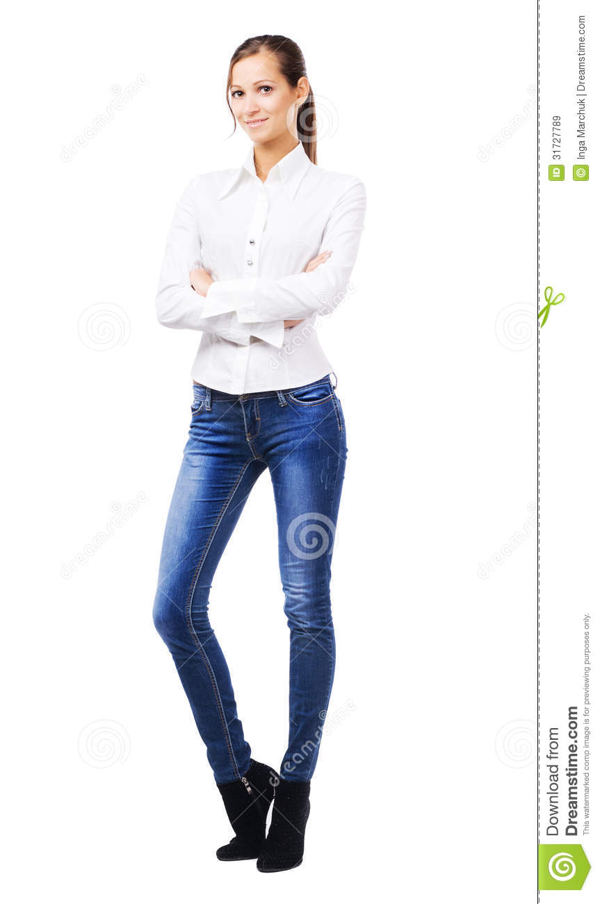 Lovely Woman In White Shirt And Blue Jeans Stock Image ...