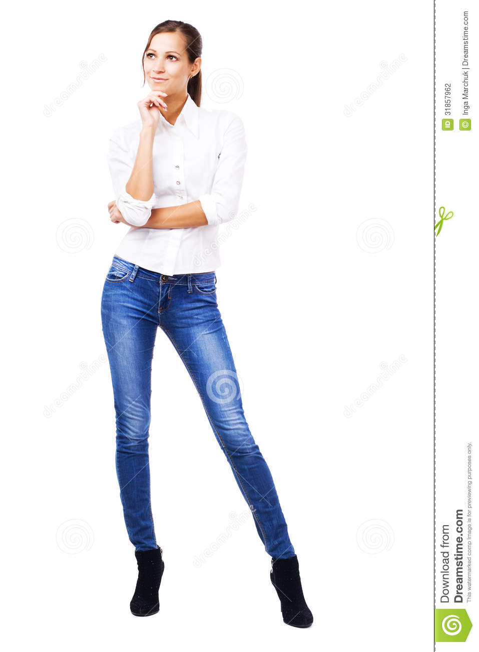 lovely woman in white shirt and blue jeans stock