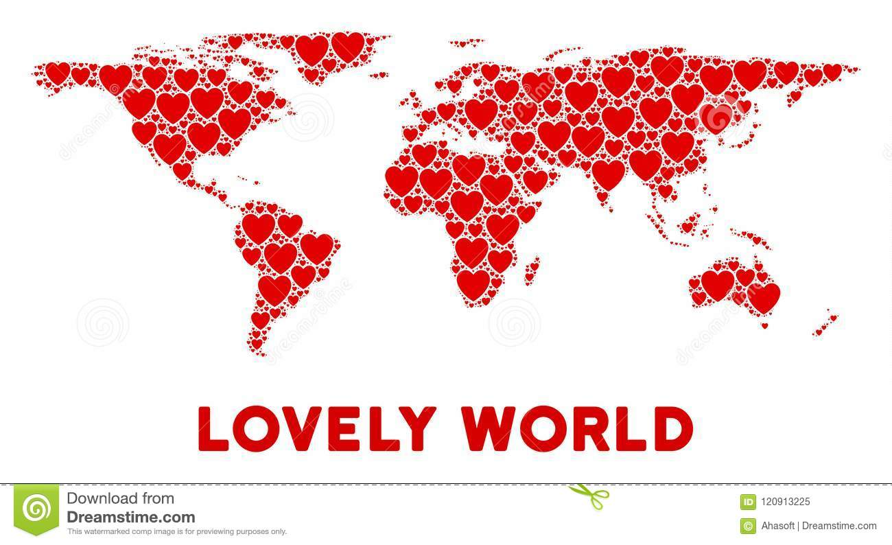 Vector Romantic World Map Composition Of Hearts Stock Vector
