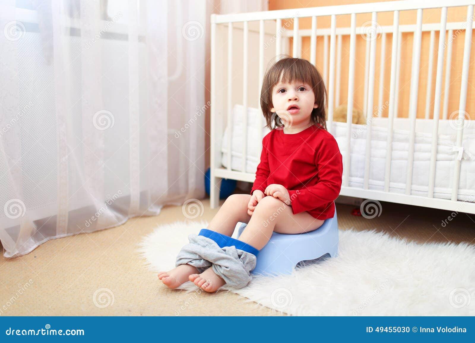 Lovely 2 Years Child Sitting On Potty Stock Photo Image