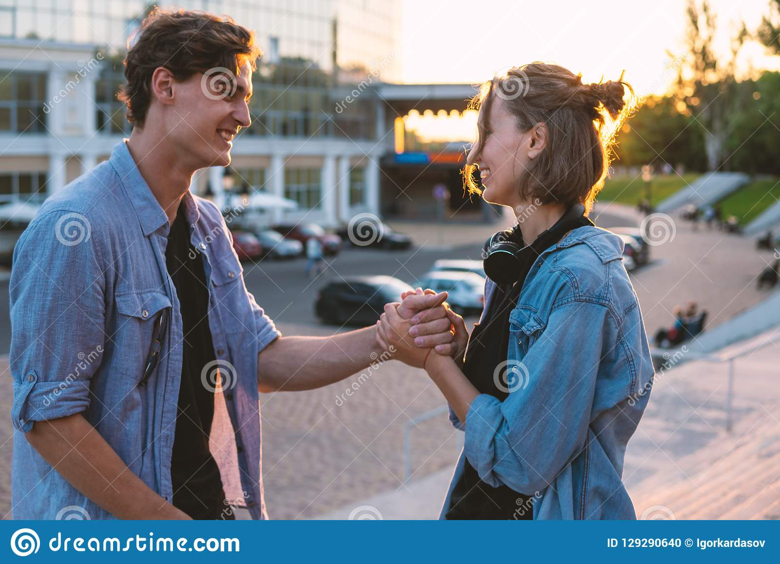 c29f016fbc9 Lovely Young Hipster Couple Dating During Summer Sunset. Stock Photo ...
