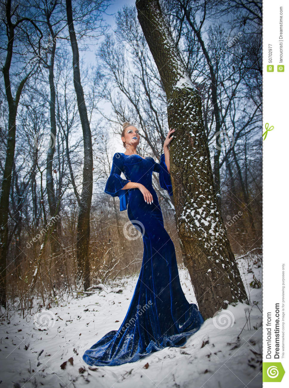 Lovely Young Lady In Elegant Blue Dress Posing In Winter