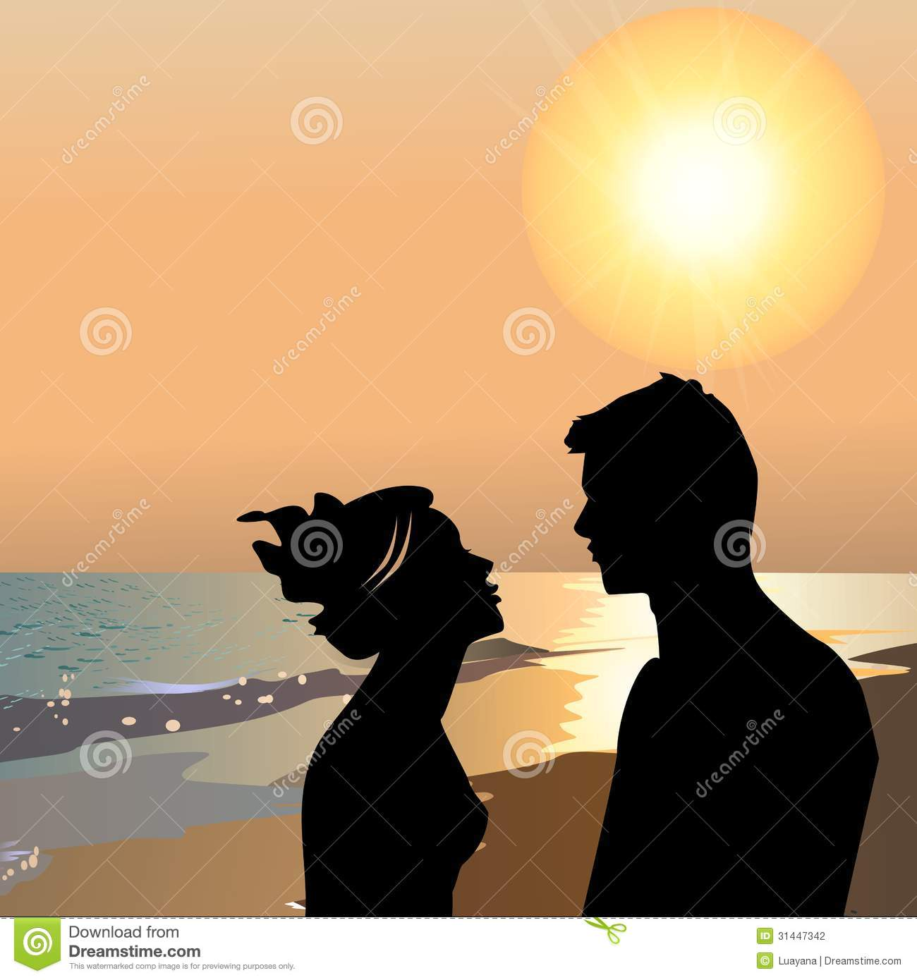 Happy Couple Sitting On Sandy Beach Embracing Kissing: Lovers On The Beach At Sunset Stock Illustration