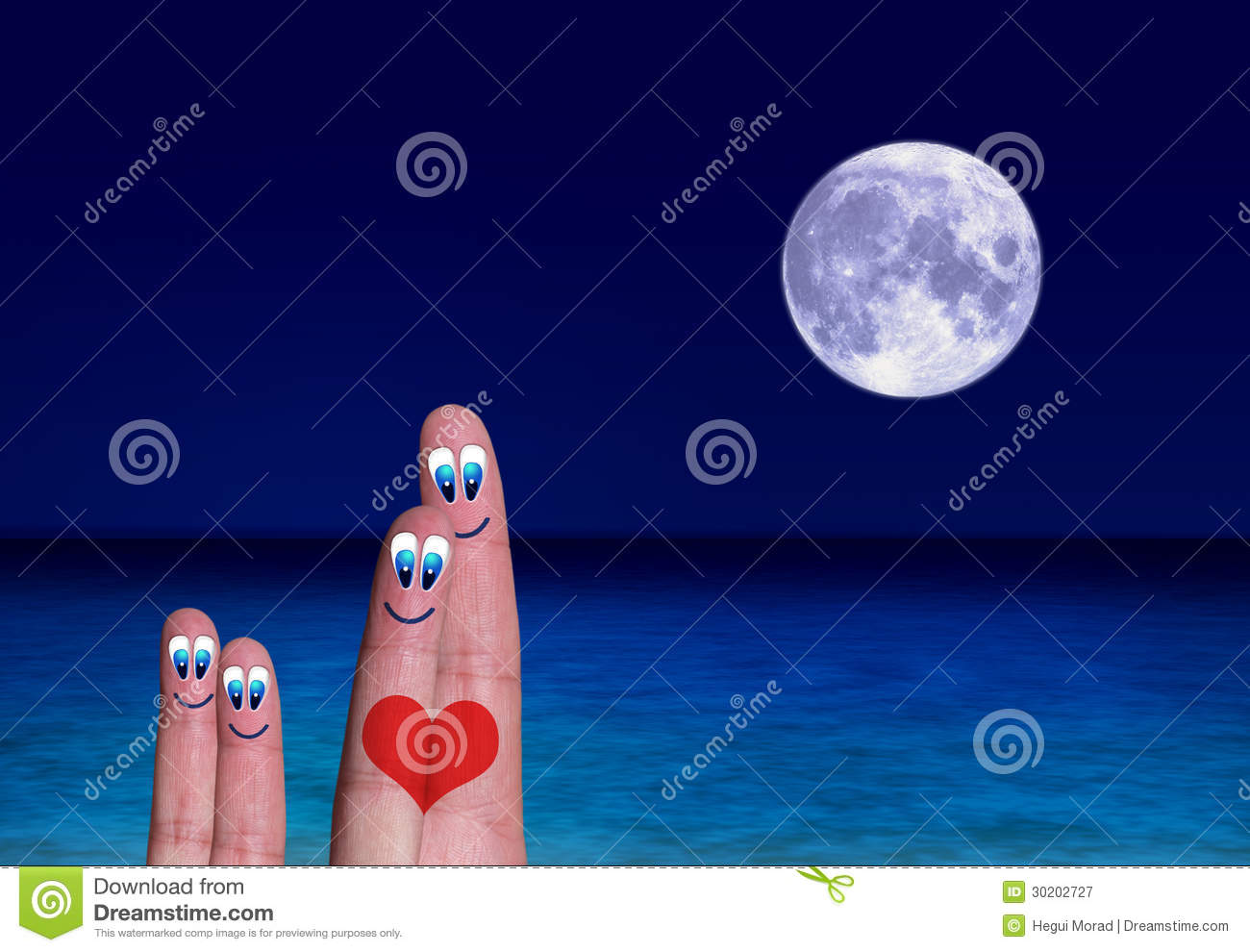 Kids at night with moon royalty free stock photography image - Lovers Connected By A Heart With Their Children Royalty Free Stock Photography