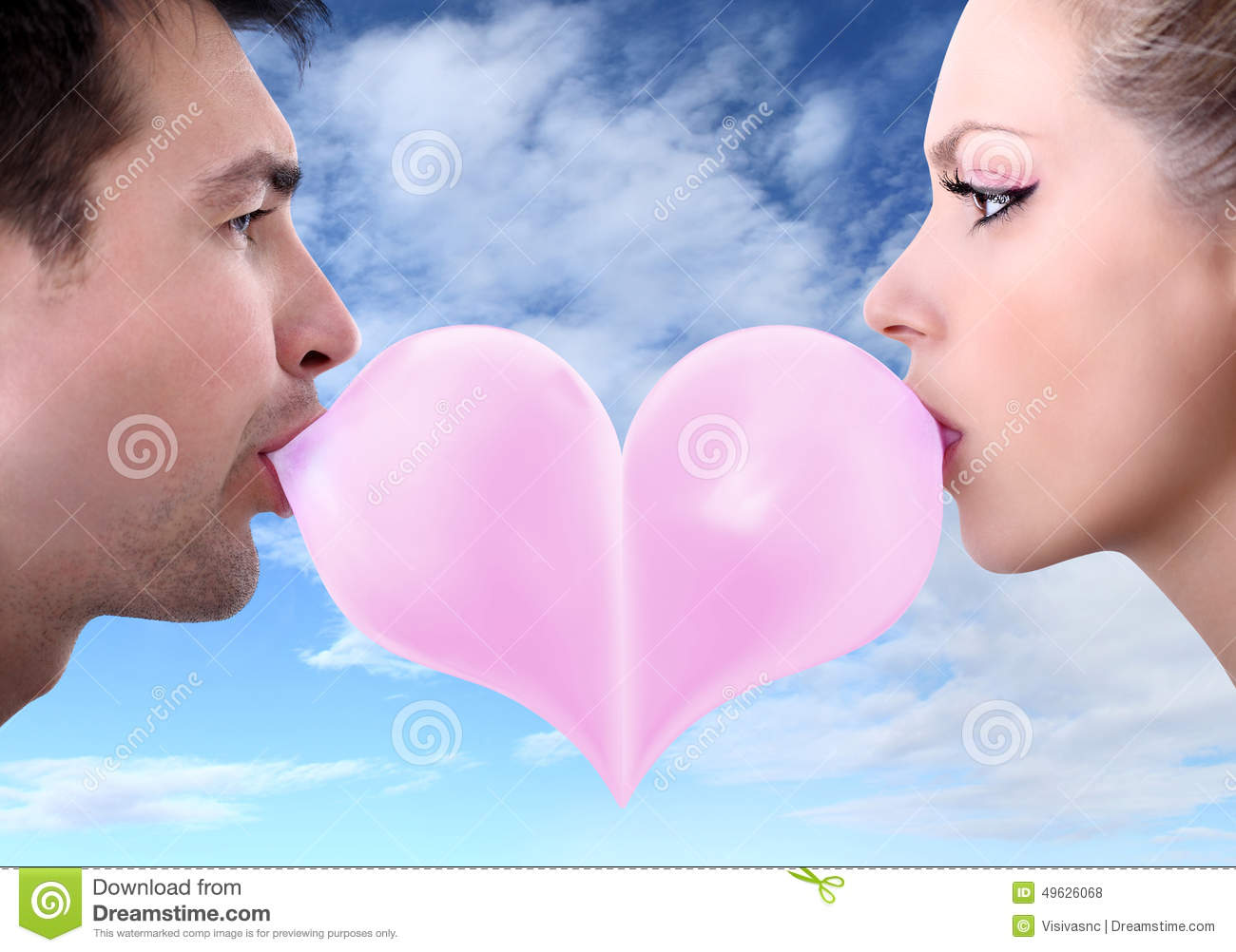 lovers couple kiss heart shaped valentine day with chewing bubble gum clip art free bubble gum clip art images