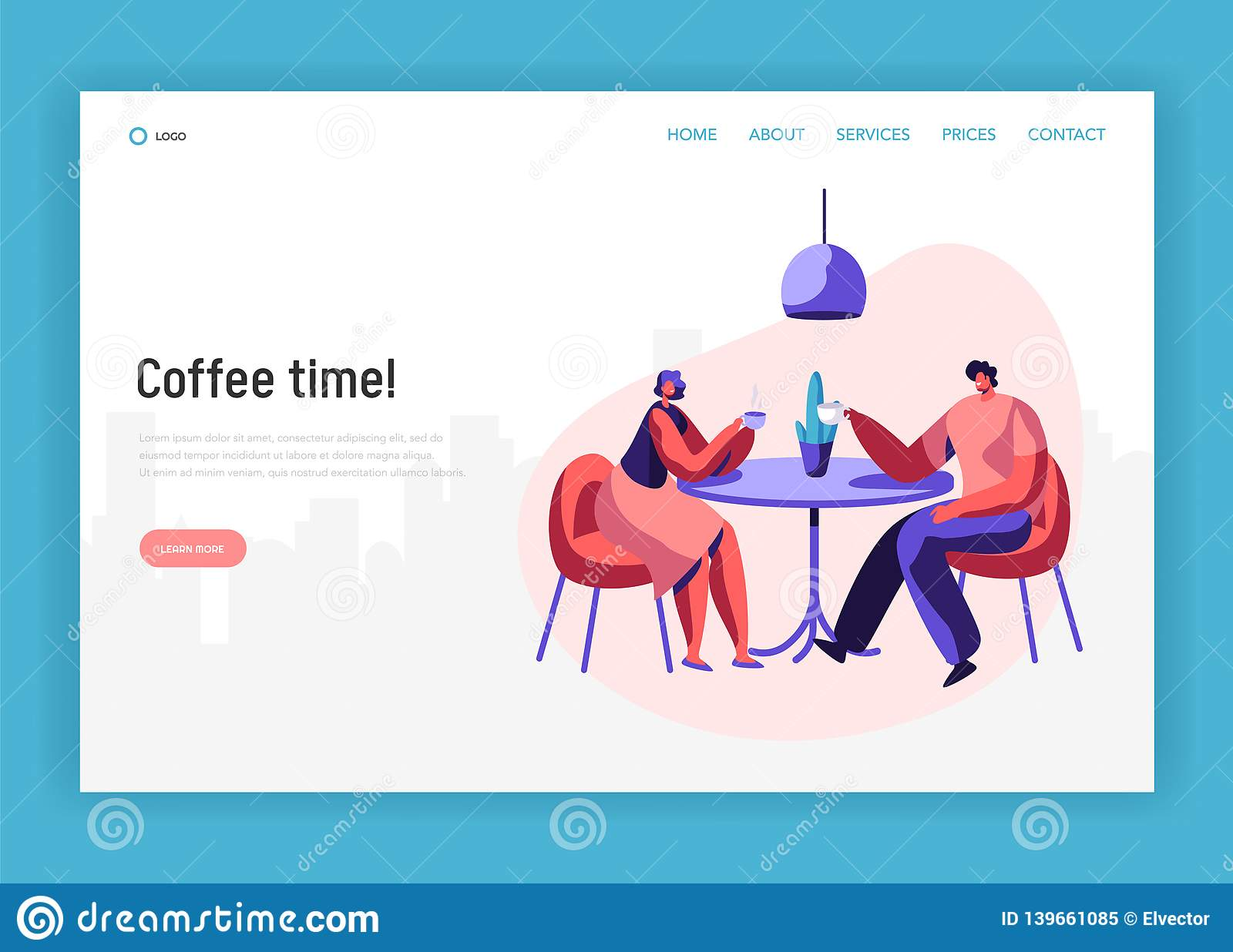 Lovers Couple or Pair Friend Sit at Table Drink Coffee have Discussion Landing Page. Smiling Man Woman Friendly Meeting