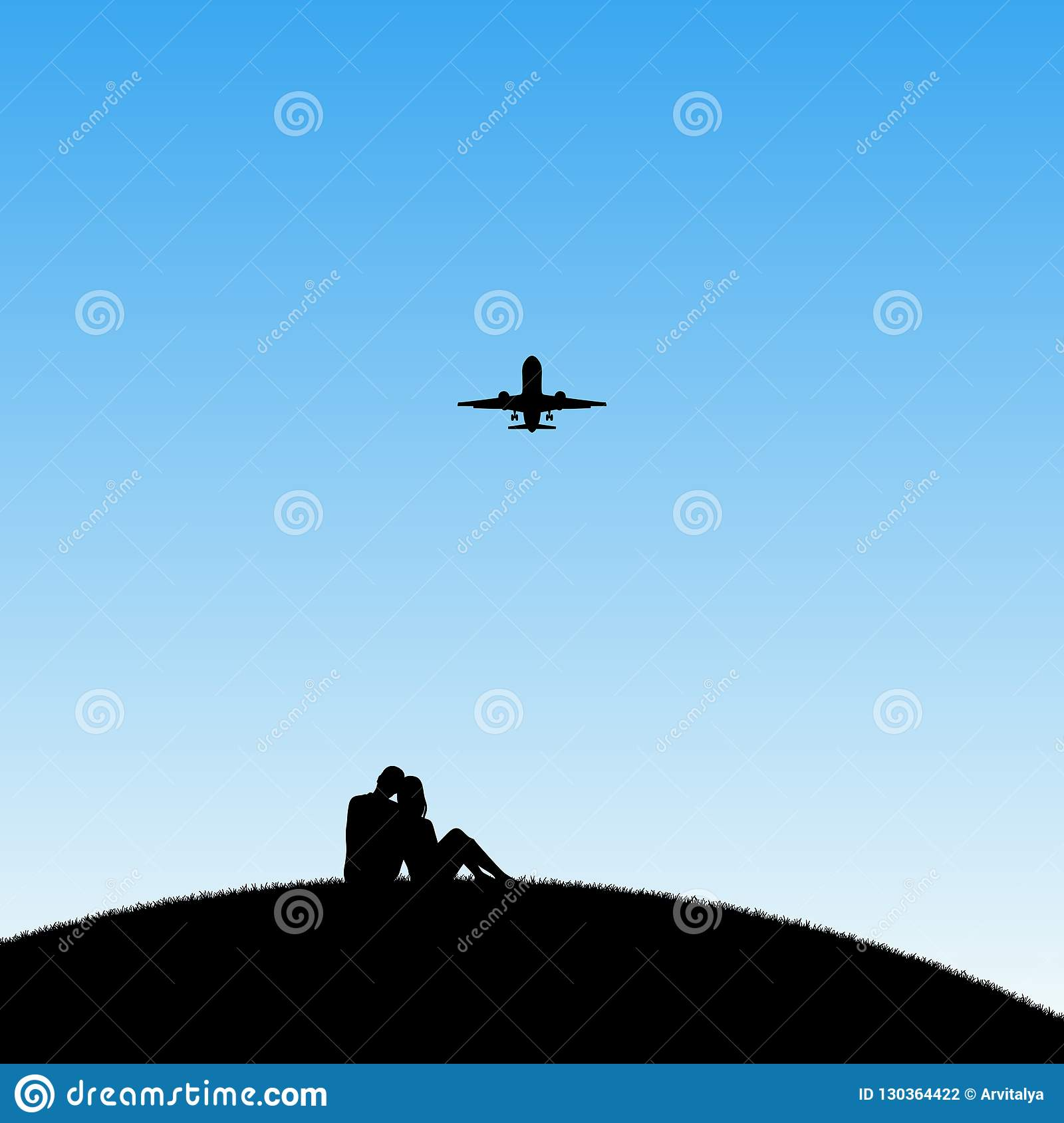 Lovers and flying aircraft in park