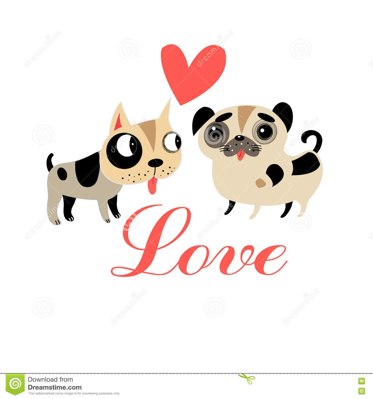 Lovers Graphics Funny Puppies Stock Vector - Illustration of line