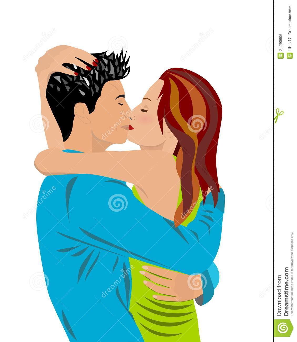 Lovers Hugging And Kissing Stock Vector Illustration Of Embrace