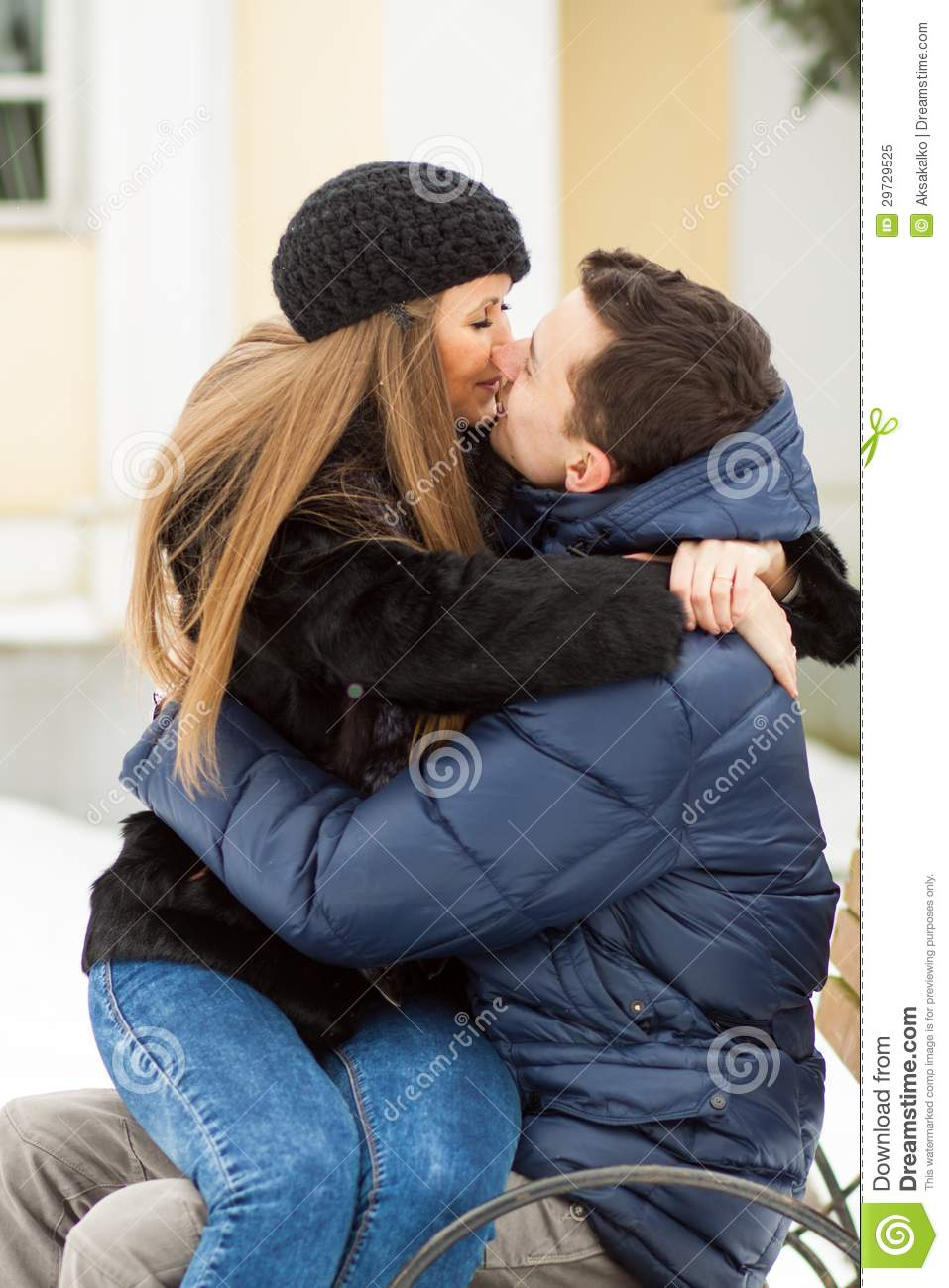 Lovers Kissing On The Bench Royalty Free Stock Photo - Image: 29729525
