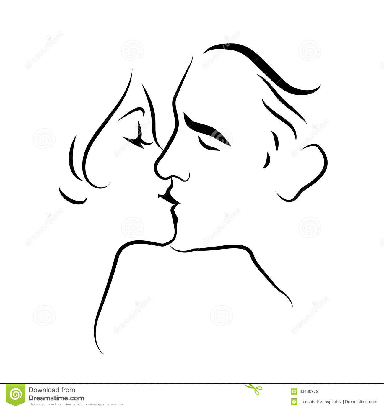 outline drawing of couples kissing