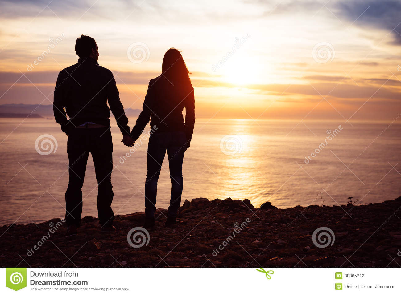 Lovers Looking Sunset Over The Sea Stock Photo Image 38865212