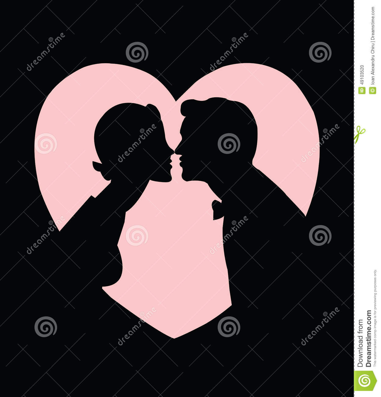 Lovers silhouette kissing