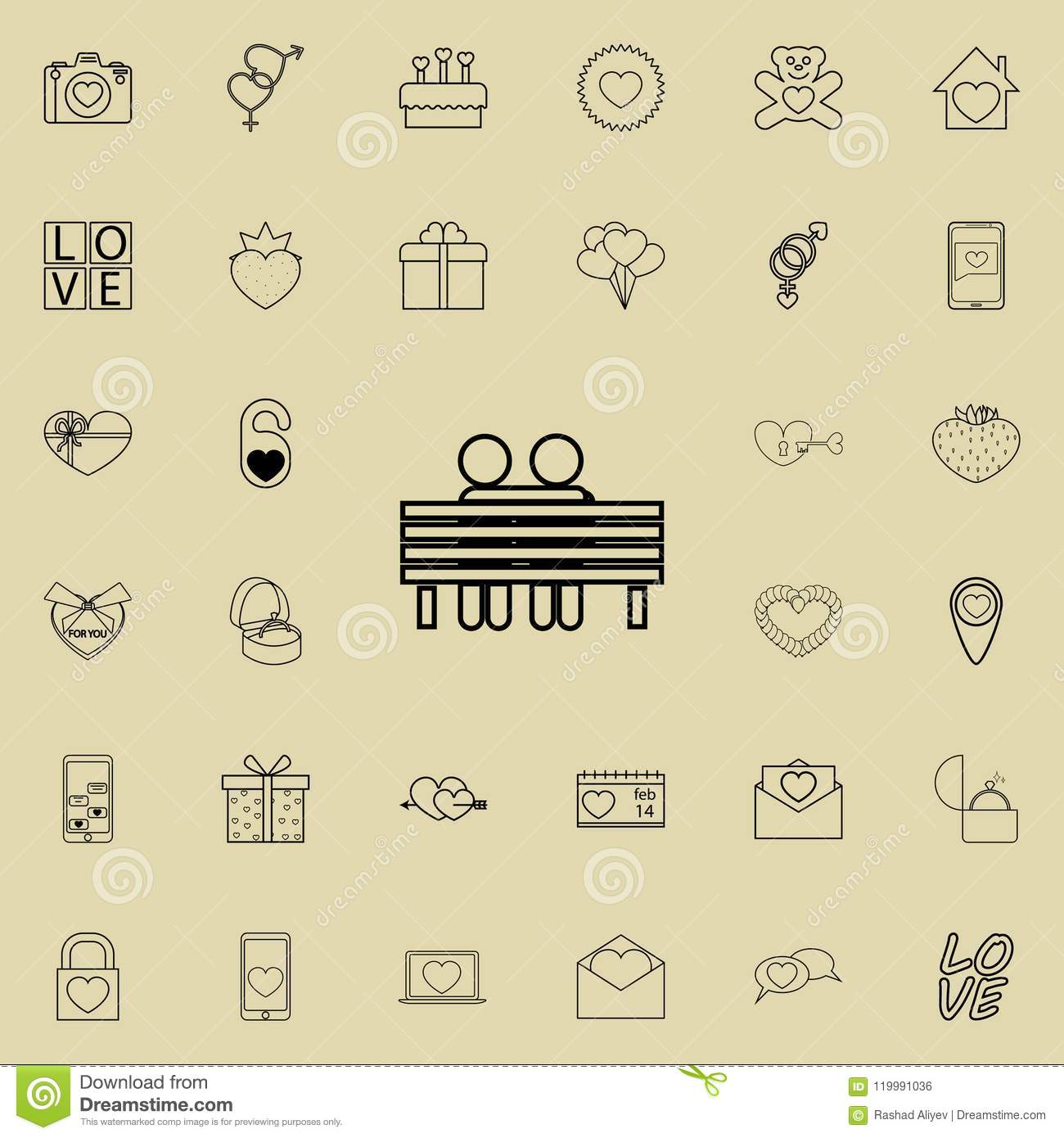 lovers sit on a bench icon. Detailed set of Valentine icons. Premium quality graphic design sign. One of the collection icons for