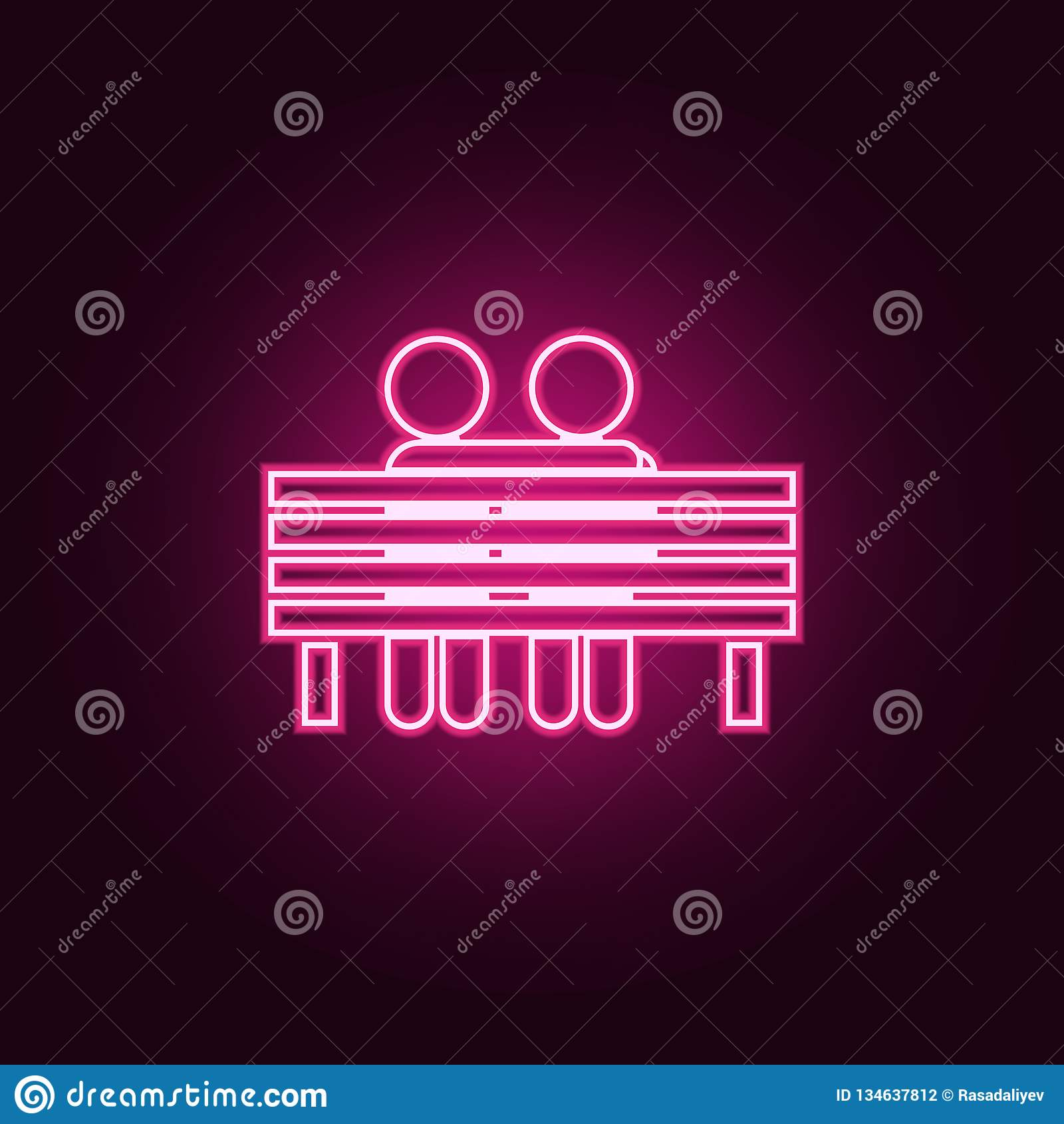 lovers sit on a bench icon. Elements of Valentine in neon style icons. Simple icon for websites, web design, mobile app, info