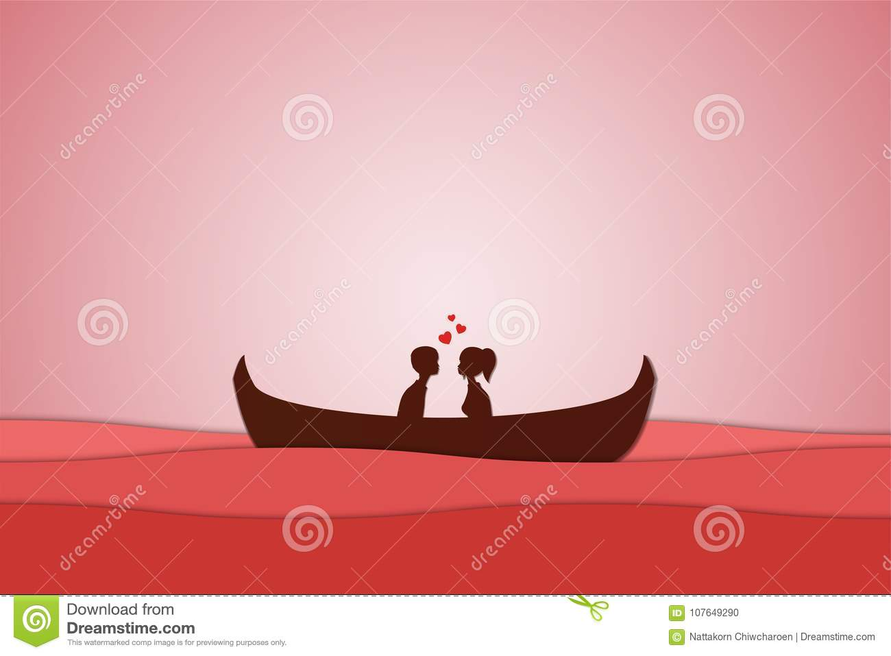 Lovers sit on a boat in the middle of the sea and have a sunset , paper art couple honeymoon , valentine day date , illustr