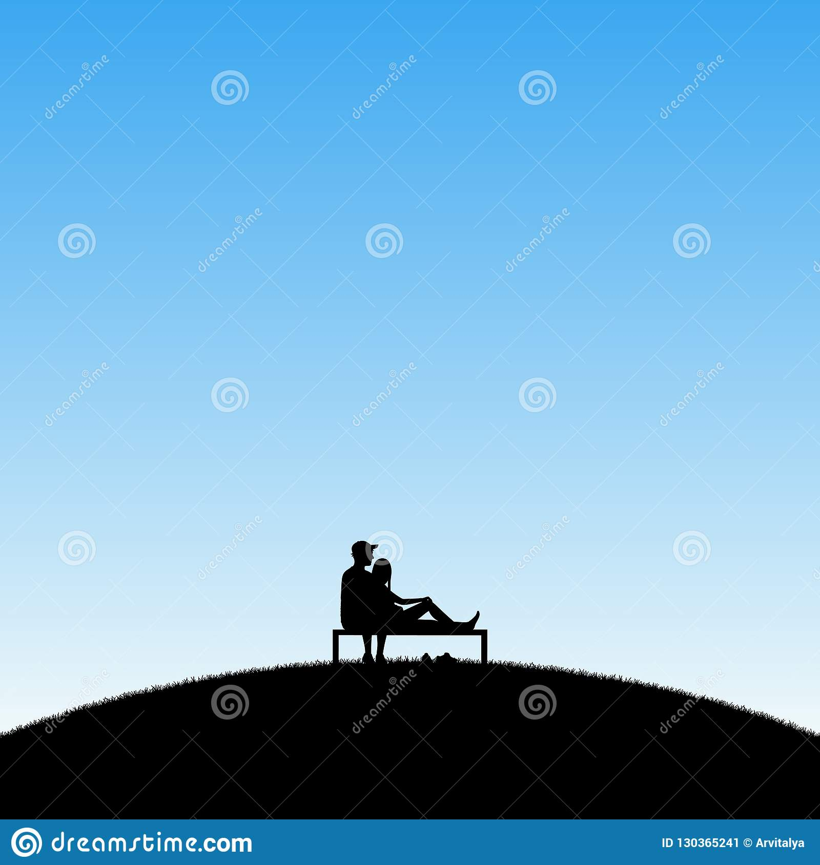 Lovers sitting on bench in park