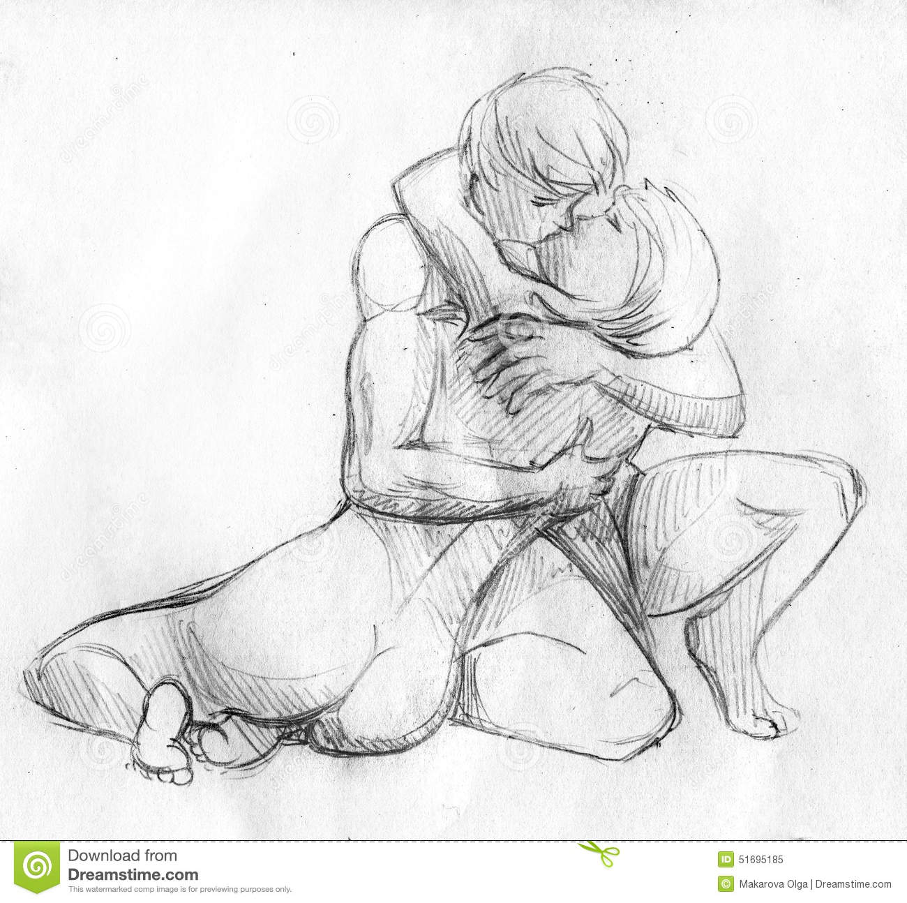 Hand drawn pencil sketch of two lovers kissing young man is embracing the girl
