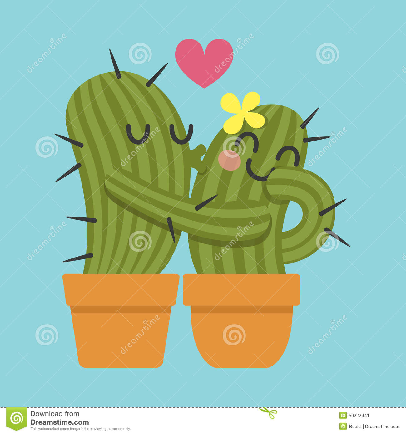 Loving Couple Of Cactus Stock Vector Image 50222441