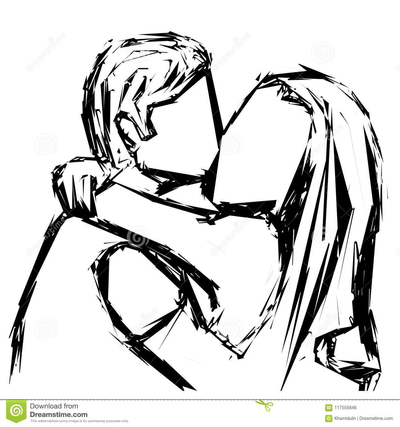 Sketch of a kissing couple in love with a gel pen vector