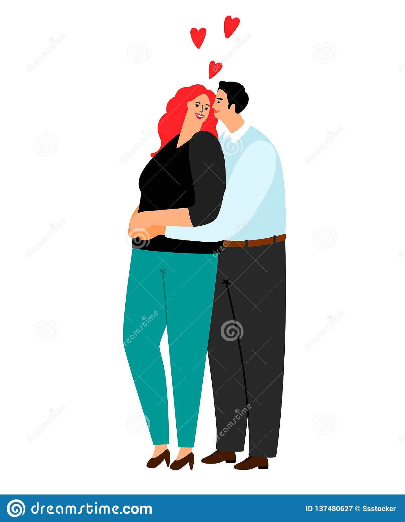 Loving couple hugging isolated on white background. Love couple man and woman, vector illustration royalty free stock photography
